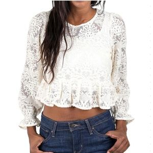 Zara ivory/cream lace ruffled crop top large